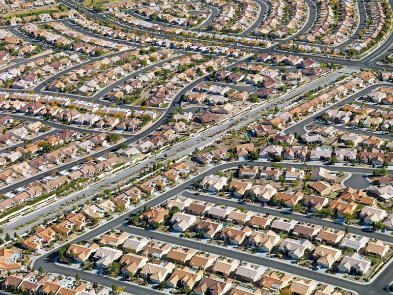 View of suburbs from the air.