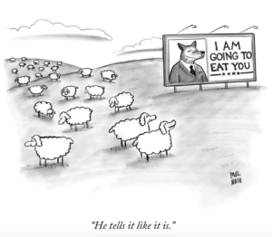 Paul Noth cartoon, wolf and sheep, from the New Yorker